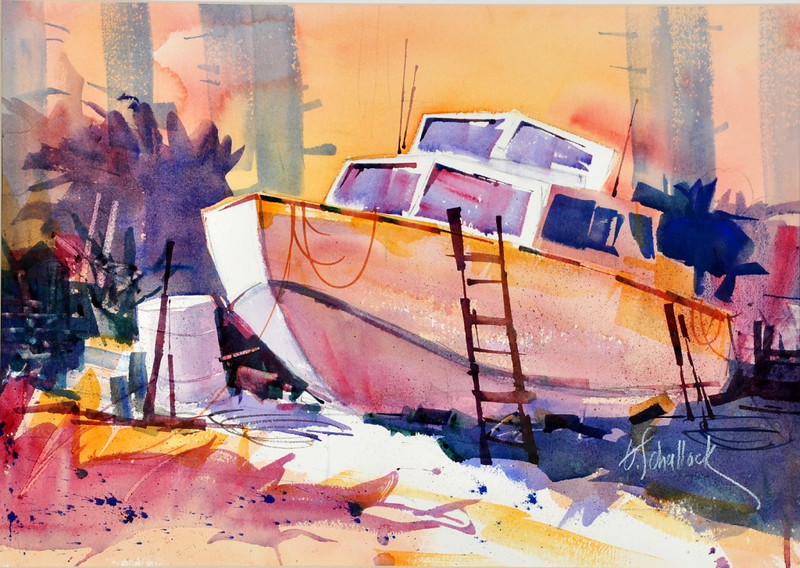 2D Workshop example: Watercolor by Gary Shallock. Even though this was framed with acrylic over it, it needed only minimal postprocessing, just the usual brightness and contrast bumps.
