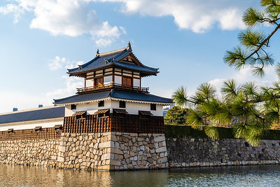 Taikoyagura drum turret over looking the moat.