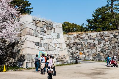 Ishigaki stone walls, right angle bend at site of Fumei-mon, gate