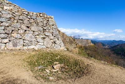 Ishigaki stone walls leading to the Otemon gate.