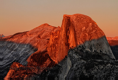 Half Dome in Alpen Glow