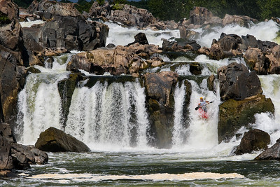 Kayaker Running Fingers at Great Falls