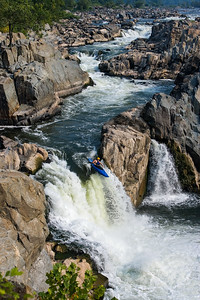Kayaker Running the Spout at Great Falls