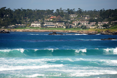 The surf and Pebble Beach Resort, from the cliffs of Carmel