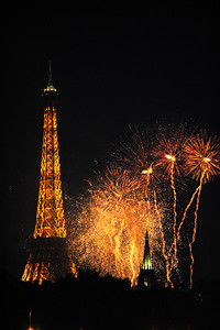 Freedom Day, Paris France, Eifle Tower and Fireworks celebration