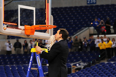 Coach K cutting down the nets for the fourth time. Duke 61-Butler 59 2010 NCAA Finals, Indy