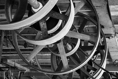 Overhead Main Power Line Shaft and Pulleys