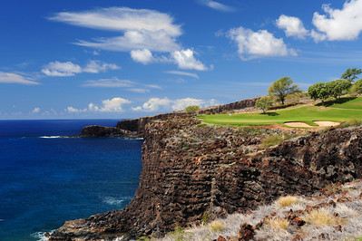 The Challenge at Manele Bay golf course, Island of Lani, Hawaii. Dont hit the ball to the left!