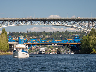 Freemont Bridge (blue) in Front of the Aurora Bridge