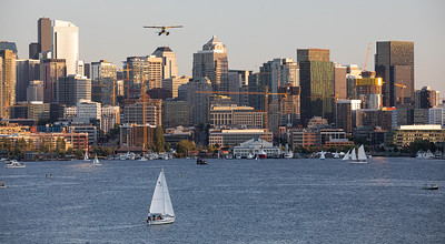 Seaplane In Front of Downtown