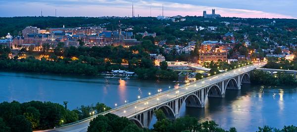Key Bridge & Georgetown University Before Dawn