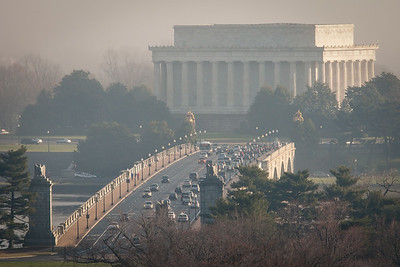 Lincoln Memorial and Arlington Memorial Bridge in Morning Fog