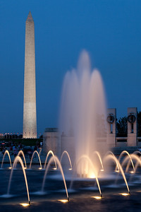Washington Monument and Fountain after Sunset