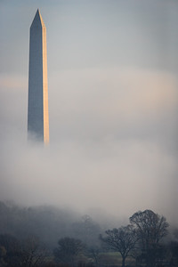 Washington Monument in Early Morning Fog # 2
