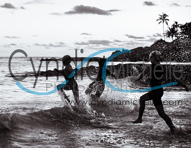 Three Young Triathletes in BlK & WHT
