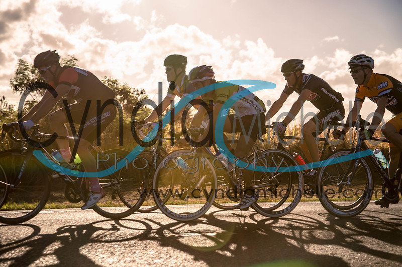 Cyclist(s) riding up Kunia road during the Dick Evans Memorial Bike Race on September 1, 2013.