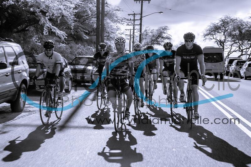 Carl Brooks and friends cycling down Diamond Head near Waikiki Beach on September 6, 2014.