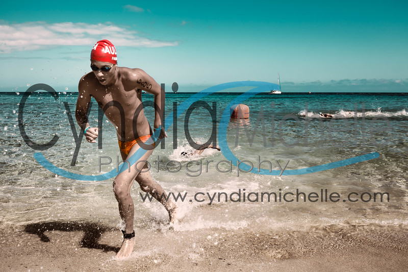 Noah F. finishing the Cholo's Waimea Bay Swim - North Shore Swim Series on June 27, 2015