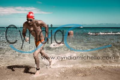 Noah F. finishing the Cholo's Waimea Bay Swim - North Shore Swim Series on June 27, 2015