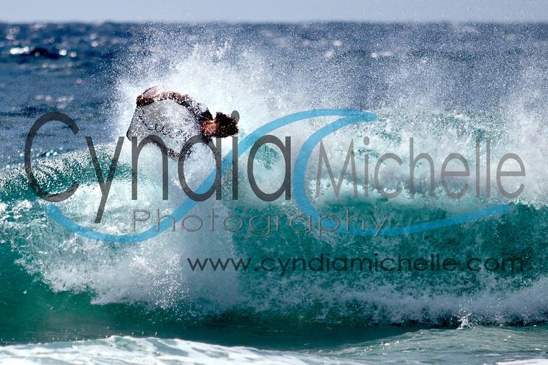 Local bodyboarder at Sandy Beach, Oahu, Hawaii on October 14, 2010