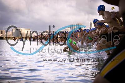 Swimmers at Kaimana Beach during the Waikiki Rough Water Swim, September 2, 2013