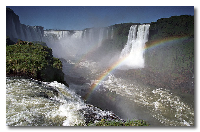 Iguaçu Falls straddles the border of Argentina and Brazil, considered to be one of the great natural wonders of the world. Taken from the Brazilian side.