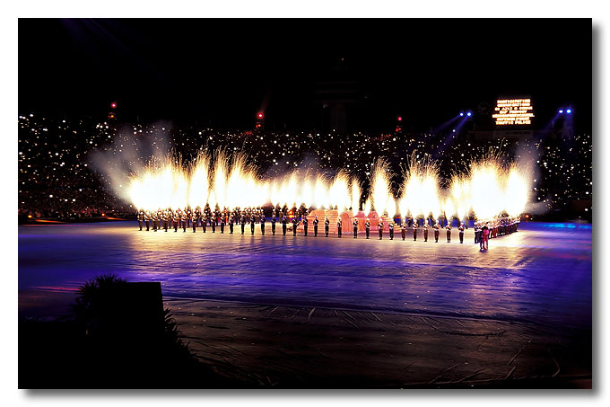 Cold fireworks by provost unit. National Day Parade 2003.