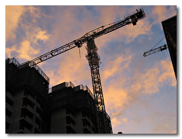Evening shot of a crane in a construction area in Toa Payoh.