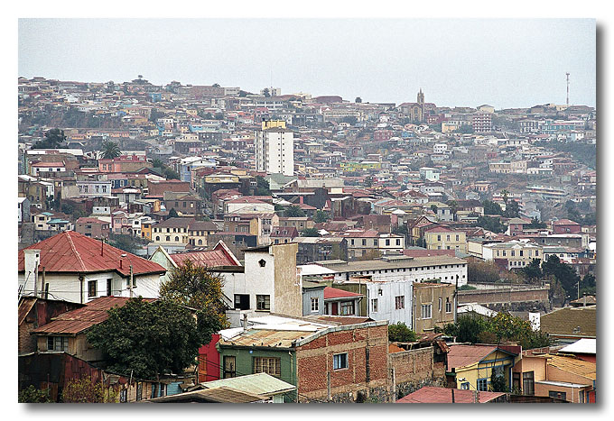 The crammed hillside residential area in Valparaiso. Valparaiso is the second largest city in Chile and Chile's major port.