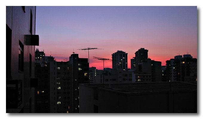 A pink evening in Niteiroi, Rio de Janeiro, Brazil. Heh, quite retro eh?