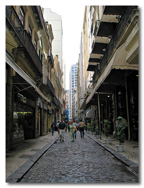 A cobbered street in Rio, Brazil.