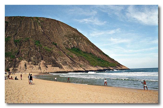 Itaipu, one of the ocean beaches of Niterói facing the Atlantic Ocean. Brazil.