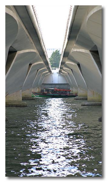 Passing through. Singapore river.
