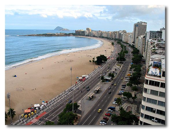Right view of Copacabana beach from Marriot hotel, Brazil.