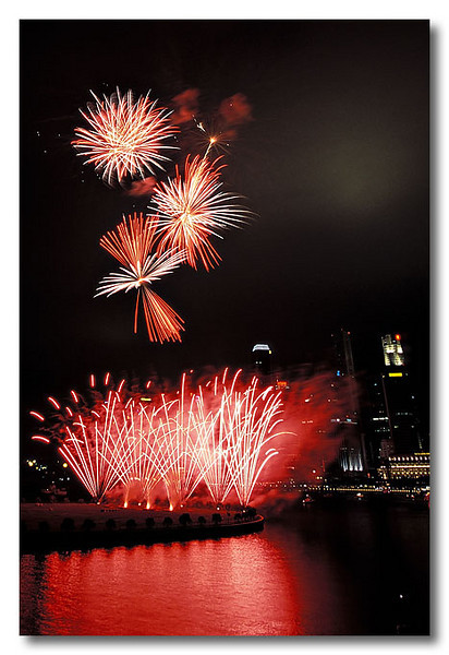 Red and White. Singapore Fireworks Festival.