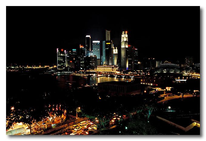 Singapore skyline from Oriental Hotel.