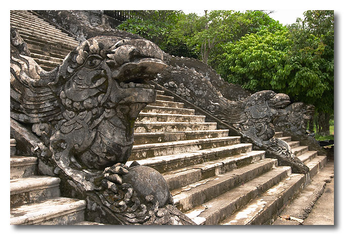 Dragon banisters of Khai Dinh's tomb. Hue, Vietnam.