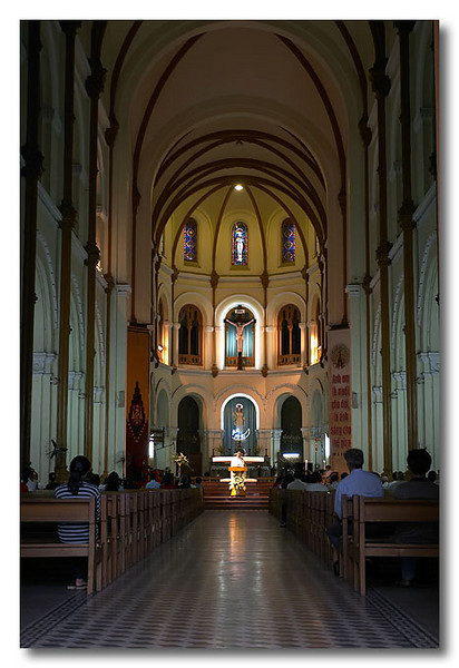 Mass in session. Notre Dame Cathedral, Ho Chi Minh City (Saigon), Vietnam.