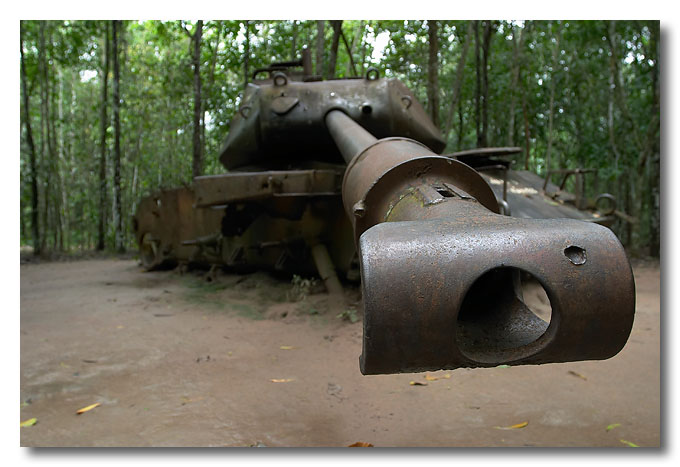 Barrel end of a disable tank. Cu Chi Tunnels, Vietnam.