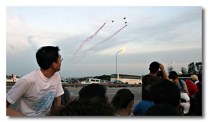 Choppers' turn to do a flypast. Benjamin Shears Bridge, National Day Parade.