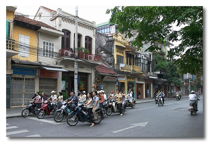 Lotsa bikes and scooters around. Hanoi, Vietnam.