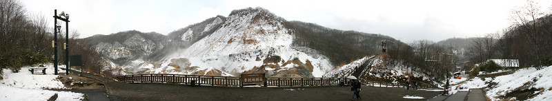 "Pano shot of Jigokudani or ""Hell Valley""."