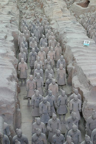 Ranks of terracotta warriors.  Xi'an, China.