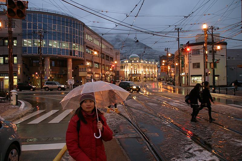 Wifey looking a bit lost at Hakodate.  Hokkaido, Japan.