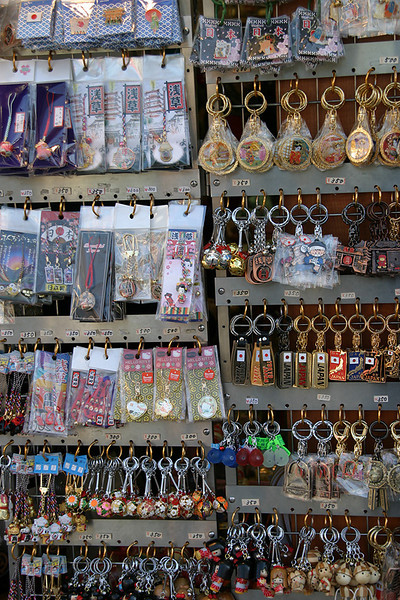 Shops selling all sorts of gifts line the street to Asakusa Temple.  Tokyo, Japan.