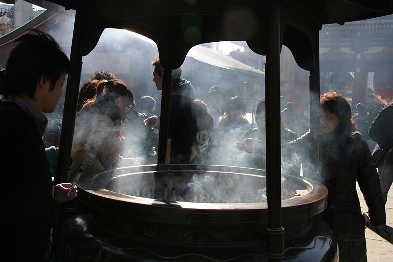 Offerings at Asakusa Temple.  Tokyo, Japan.