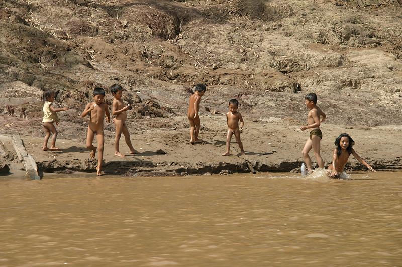 Fun at the water's edge.  Luang Prabang, Laos.
