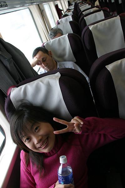 Relaxing on the train to Noboribetsu.
