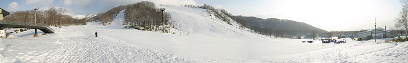 Pano shot of the snow covered slopes of Northern Annupuri.  Hokkaido, Japan.