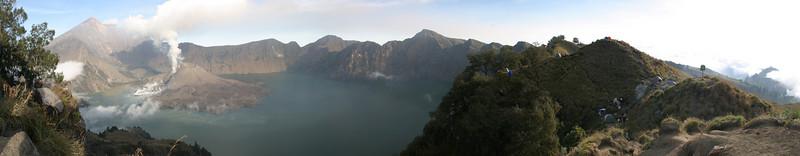 Pano shot of the caldera. Mount Rinjani, Lombok, Indonesia.